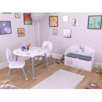 Habitat et Jardin - Set table + 2 chaises Bear - 60 x 50 x 60 cm - Coloris blanc et gris