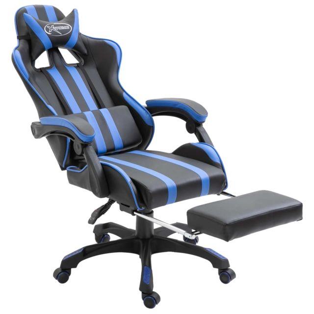 Icaverne Fauteuils de jeux ensemble Chaise de jeu avec repose pied Bleu PU