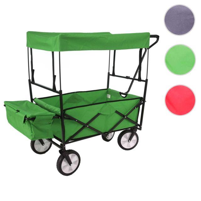 Mendler Chariot pliable Hwc-e38, charette à bras, charette de jardin ~ avec toit et poche arrière, vert