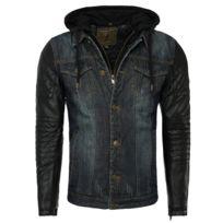 Young And Rich - Veste imitation cuir et jeans Veste 456 noir et jeans