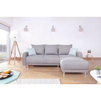 Bobochic - Minty Réversible - Canapé d'angle gris clair