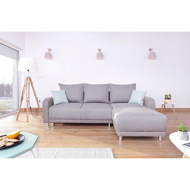 BOBOCHIC   Canapé Design Du0027angle Réversible Minty En Tissu Gris Clair