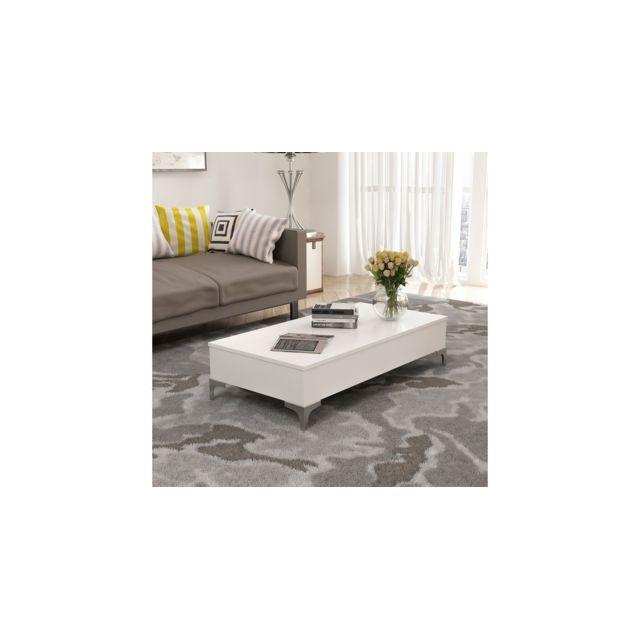 Homemania Table Basse Delinda Relevable - Compacte Porte Pc, Porte-Revues - avec Étagères - pour Salon - Blanc en Bois, 121 x 60 x