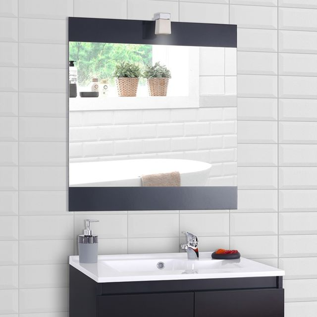 Creazur Miroir avec applique lumineuse Mirosa - 80 cm gris