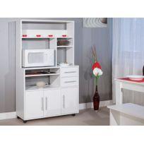 MARQUE GENERIQUE - Buffet de cuisine sur roulettes ASTRID - 3 portes & 2 tiroirs - Coloris blanc