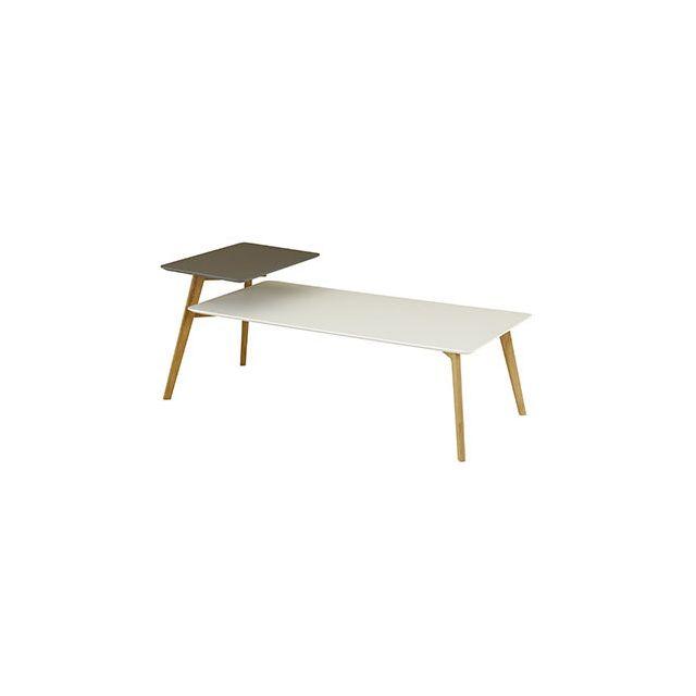 Table basse 130 cm double plateaux gris et blanc - Baltic