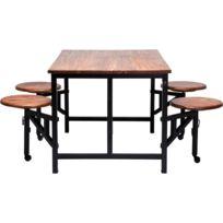 table fer et bois salle manger - achat table fer et bois salle