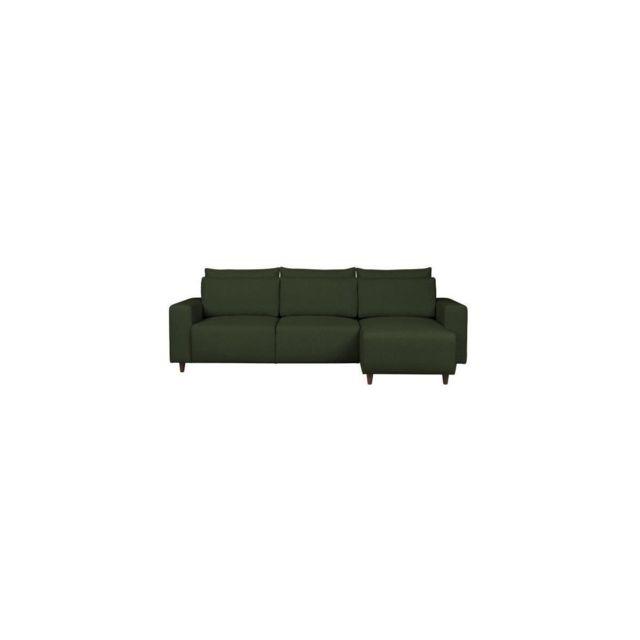 Sans Marque Paco Canape Dangle Convertible Reversible - Tissu Vert - L 268 X P 163 X H 92 Cm