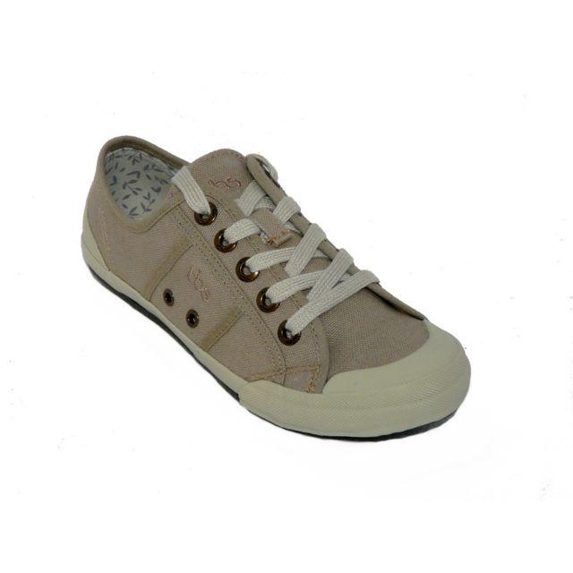 e3844601b51fe Tbs - Chaussures femme Toile beige lacets - pas cher Achat   Vente Baskets  femme - RueDuCommerce
