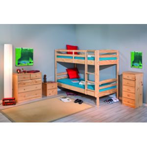 kalitat lit superpos 90 x 190 cm pin massif vernis naturel avec 2 sommiers pas cher. Black Bedroom Furniture Sets. Home Design Ideas