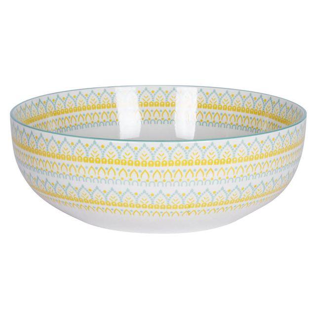 Table Passion Saladier en porcelaine D.29 cm motifs assortis jaune / bleu Mikado