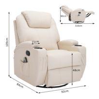 HOMCOM - Fauteuil canapé sofa relaxation massant chauffant et vibrant inclinable pivotant à 360° similicuir 92L x 84l x 109Hcm beige 36