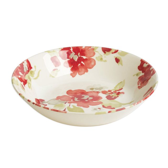Table Passion Assiette creuse en faïence D.19cm motif floral rouge / vert - Lot de 6 Bagatelle
