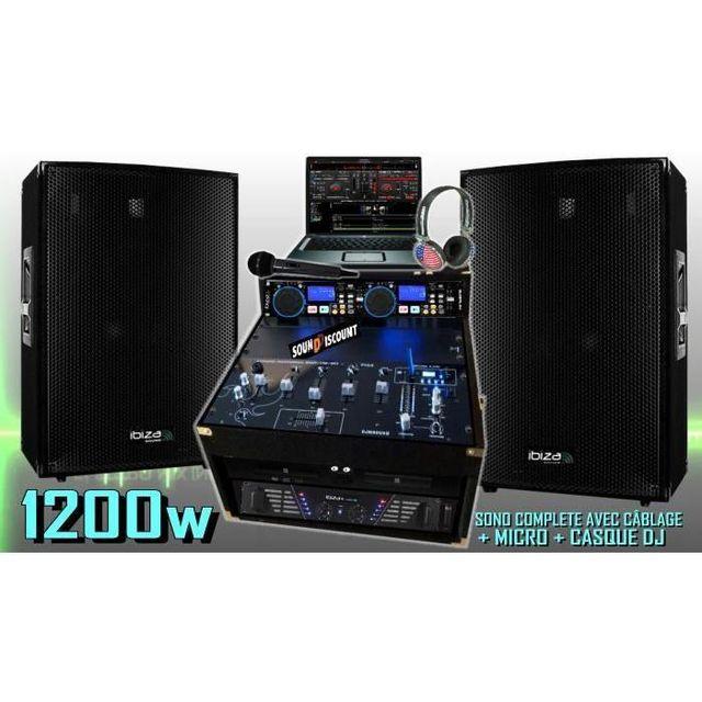 Ibiza Sound Sono complète 1200w avec enceintes sono ampli double lecteur cd mixage micro dj casque - la totale pa dj