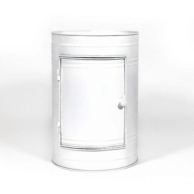 made in meubles table de chevet bidon blanc m tal 1 porte mkb b pas cher achat vente lit. Black Bedroom Furniture Sets. Home Design Ideas