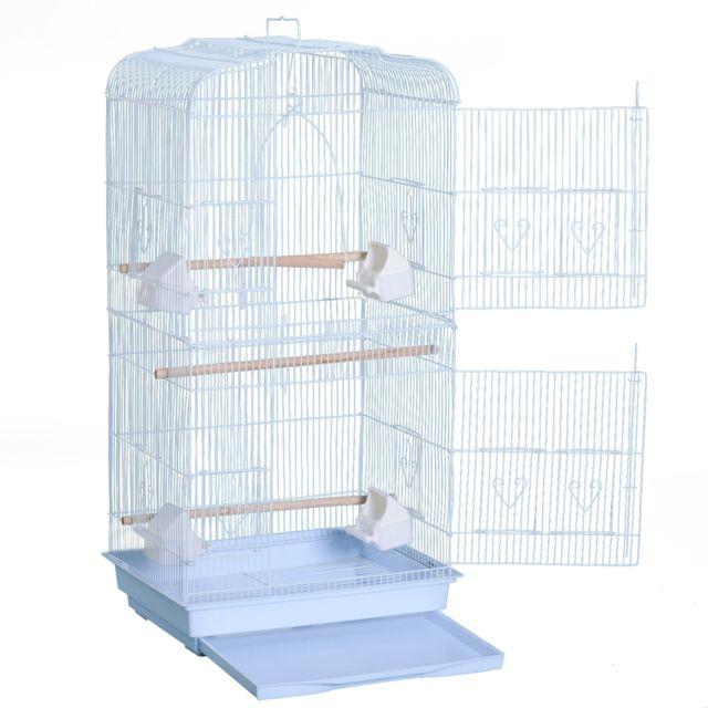 HOMCOM Cage à oiseaux avec mangeoires perchoirs 48 x 36 x 91 cm blanc