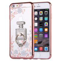 Wewoo - Coque Pour iPhone 6 & 6s fleurs blanches et bouteilles de parfum motif diamant plaqué Tpu étui de protection avec support