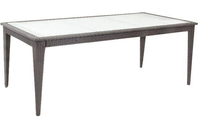 AUBRY GASPARD Table de jardin en polyrésine noire et verre