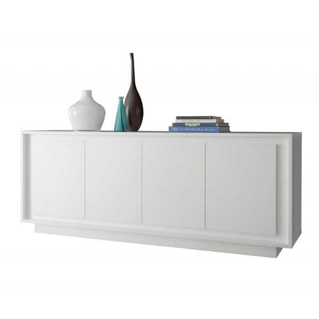 tousmesmeubles buffet 4 portes blanc mat rimini pas cher achat vente buffets. Black Bedroom Furniture Sets. Home Design Ideas