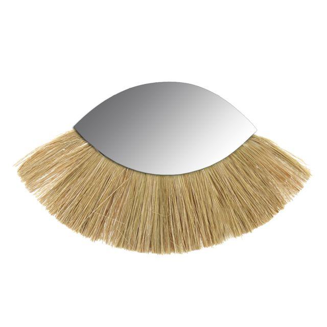 AUBRY GASPARD Miroir oeil en jonc naturel et verre