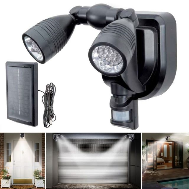 idmarket lampe double projecteur solaire orientable 38 leds avec d tecteur de mouvement pas. Black Bedroom Furniture Sets. Home Design Ideas