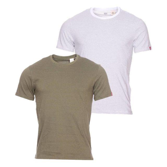 Levi'S Lot de 2 tee shirts Slim en coton vert kaki et