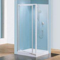 Novellini - Paroi douche fixe verre granité Riviera F - réglable de 78 à 82 cm