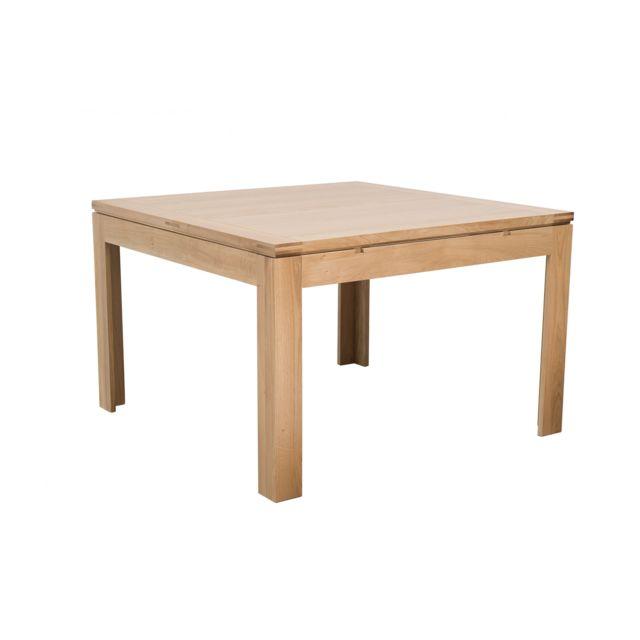 HELLIN Table carrée BOSTON - bois chêne clair massif