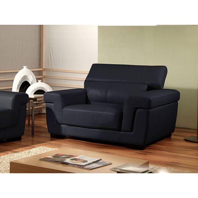 la maison du canap fauteuil cuir evasion cuir prestige noir pas cher achat vente. Black Bedroom Furniture Sets. Home Design Ideas