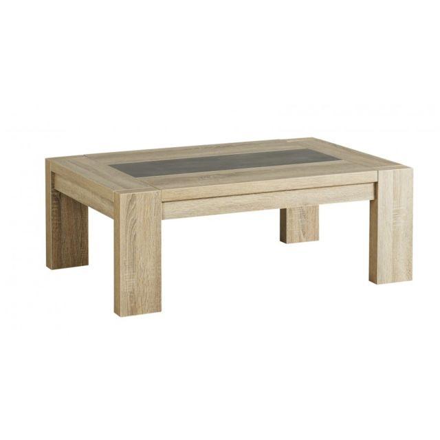 Rocambolesk Mathis Table Basse Melamine Chene Brut