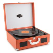 AUNA - Peggy Sue CD Platine vinyle rétro & lecteur CD portable USB SD - orange