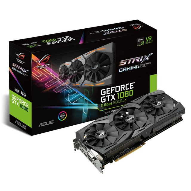 Asus Carte graphique GeForce Gtx 1080 Strix A8G 11 Gbps, 8192 Mb Gddr5