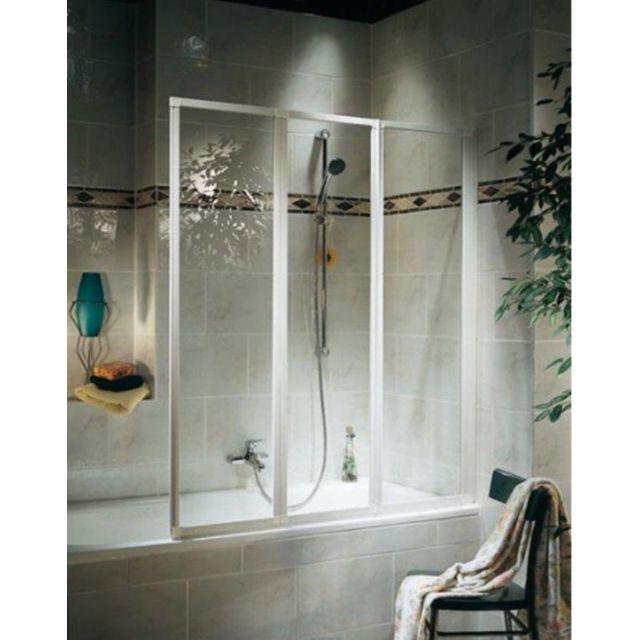 SCHULTE - Pare-baignoire Golf, paroi de baignoire avec 3 volets pivotants, 126,8 x 120 cm, verre transparent, profilé blanc