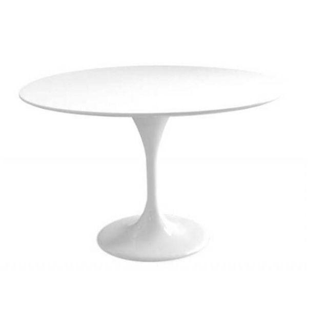 Inside 75 Table ronde de repas design Tulipe laquée blanc 90 cm