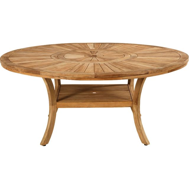 Alinéa - Komodo Table de jardin en teck avec plateau tournant 10 à ...