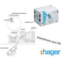 Hager - Kit interphone Sans Fil, portée 400m, platine de rue+ batterie+tèl