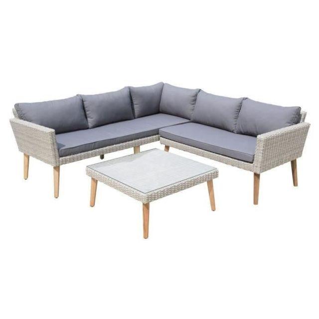Salon De Jardin - Ensemble Table Chaise Fauteuil De Jardin Salon de jardin  en résine tressée - 1 table basse et 1 canapé d\'angle