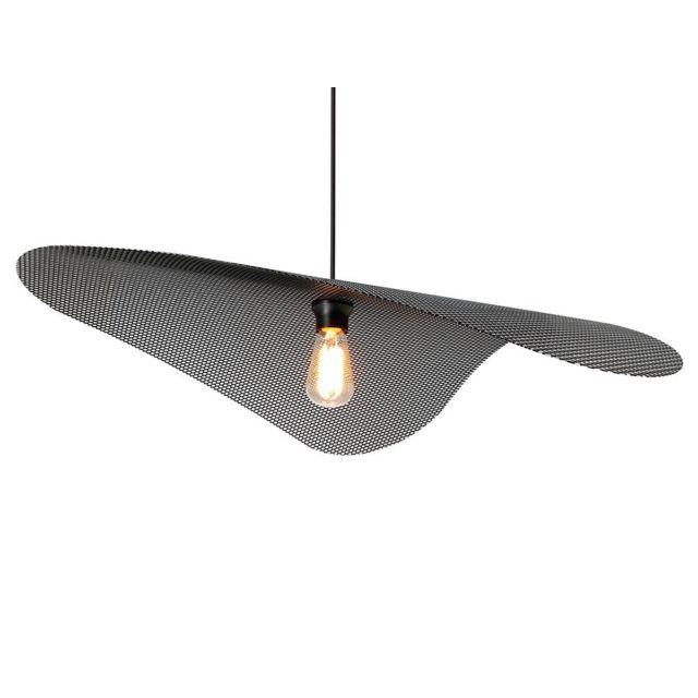 Metropolight - Suspension Xl en métal perforé noir diamètre 78cm Voile