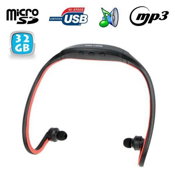 Yonis - Casque Mp3 sport lecteur audio sans fil running vélo rouge 32 Go