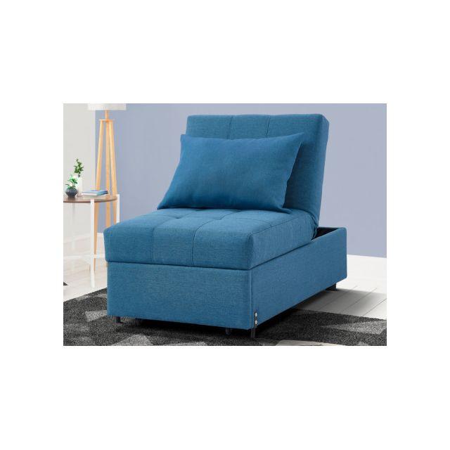 marque generique - fauteuil convertible en tissu lesna - bleu - pas