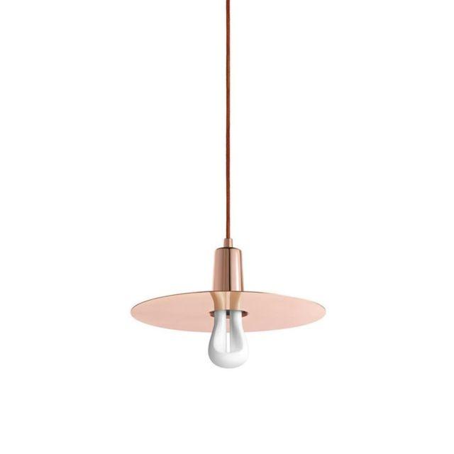 Plumen Led 002 Drop Hat-suspension avec Ampoule et Abat Jour Métal Led 002 Ø30,7cm Cuivre