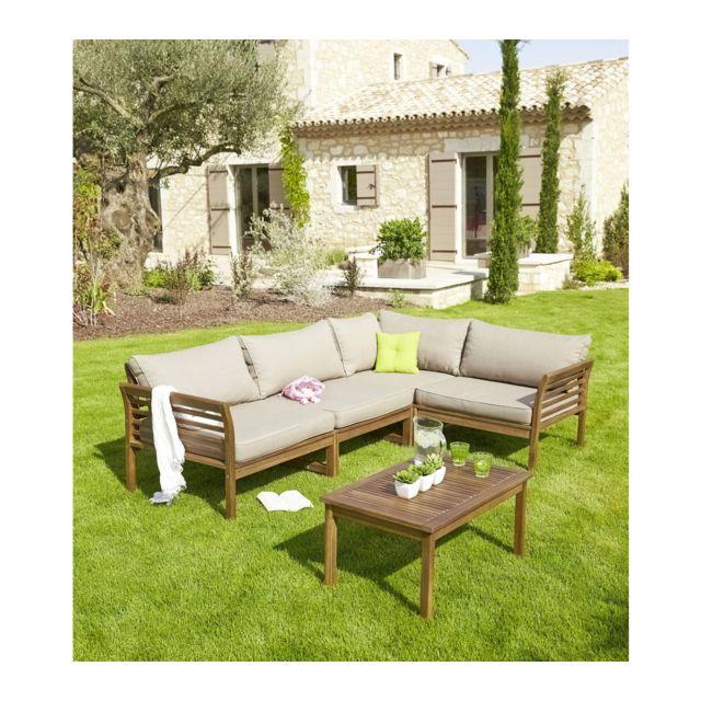 CARREFOUR - Salon de jardin d\'angle HANOI - 2 fauteuils + 1 ...