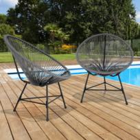 Lot de 2 fauteuils de jardin Izmir gris design oeuf avec cordage plastique
