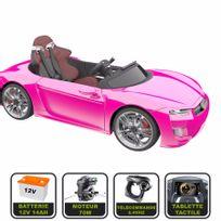 Cristom - Voiture électrique de luxe 12V pour enfant Henes Broon F830 tablette tactile, télécommande Bluetooth rose