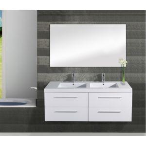 sanitaire fr meuble double vasque saturn 140 cm blanc pas cher achat vente meubles de. Black Bedroom Furniture Sets. Home Design Ideas