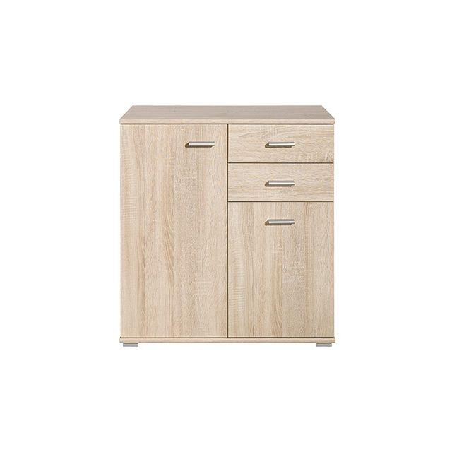 Commode 2 portes 2 tiroirs 71x75x35cm chêne naturel
