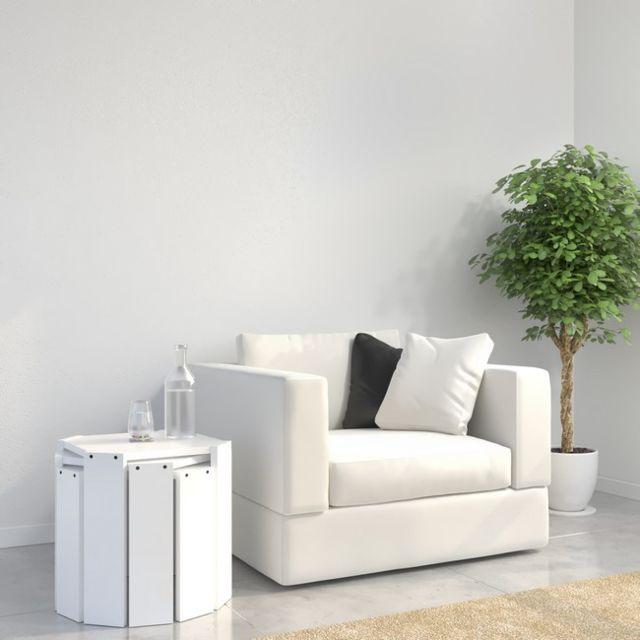 f914c086ec29a Homemania - Table Basse Hansel Nested Contemporain Blanc - Pour Séjour,  Salon, Bureau -