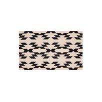 Akhal - Tapis coton imprimé motif ethnique écru/noir Matta - 60x110cm