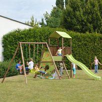Soulet - Aire de jeux bois 5 agrès : toboggan, balançoire, siège bébé - Lombarde