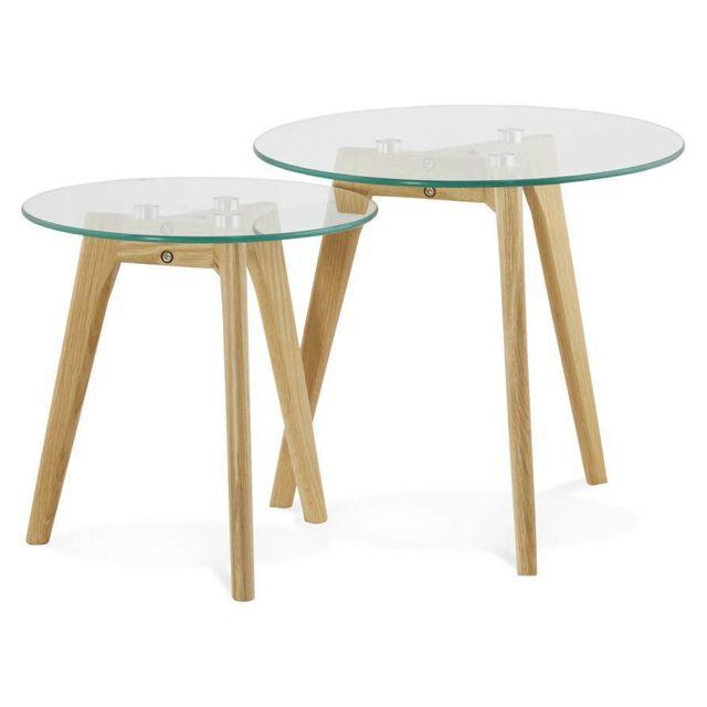 TECHNEB Tables basses design gigognes ART en verre et chêne massif transparent